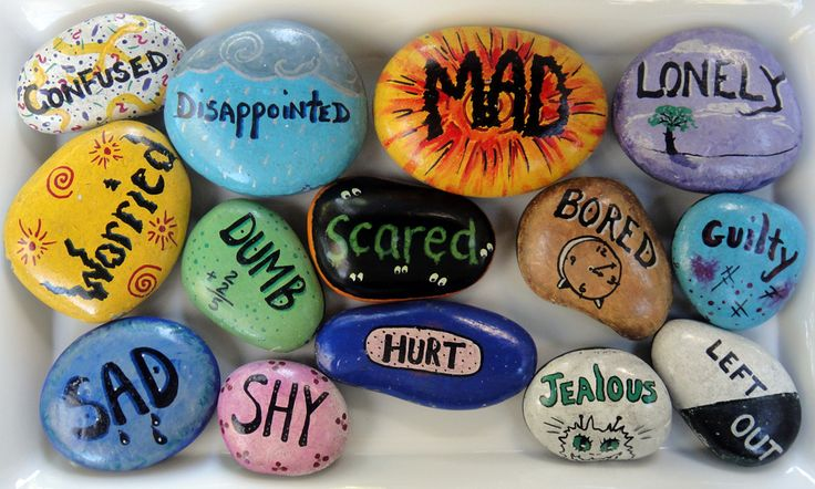 Feelings Rocks from Just for Kids...a great teaching aide for kids about their feelings..an interesting article and concept using painted rocks with feelings!
