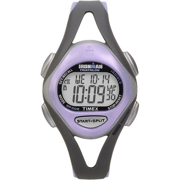 Timex Ironman Sleek Womens Purple Resin Strap 50-Lap Watch T5E5119J ($60) ❤ liked on Polyvore featuring jewelry, watches, leather-strap watches, alarm wrist watch, purple watches, timex wrist watch and water resistant watches