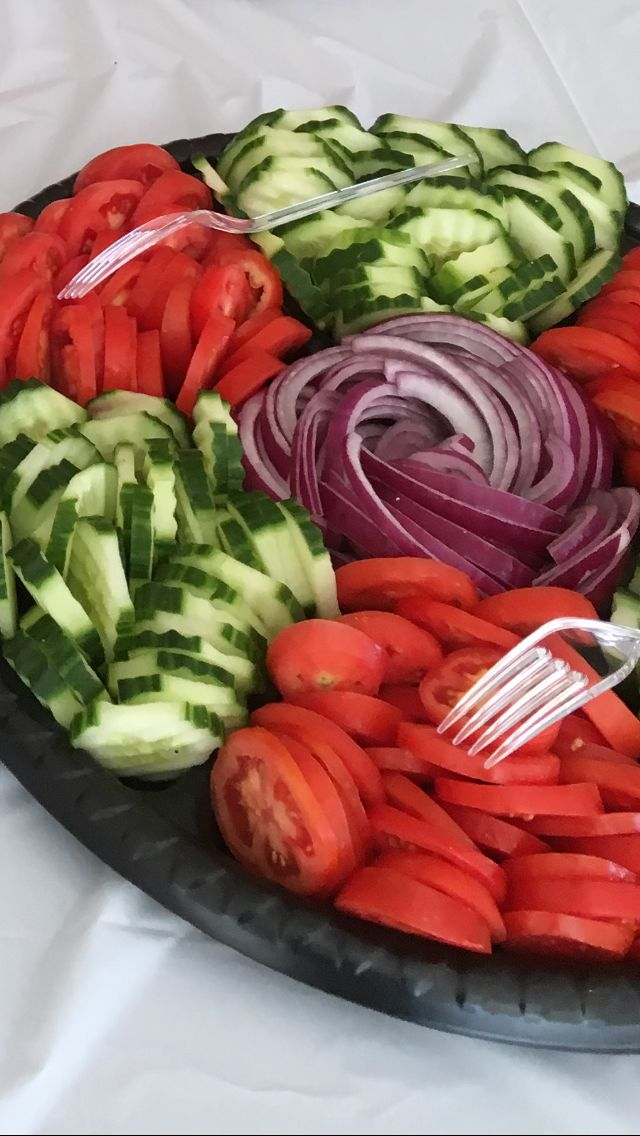 Accompaniments for a deli dairy platter... Sliced Tomatoes Cucumbers Red Onions