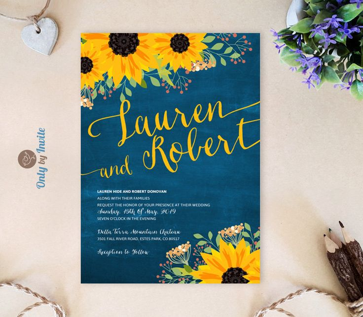 Dark blue chalkboard wedding invitations with sunflowers | Orange and black sunflower invitation printed | Affordable engagement invites by OnlybyInvite on Etsy