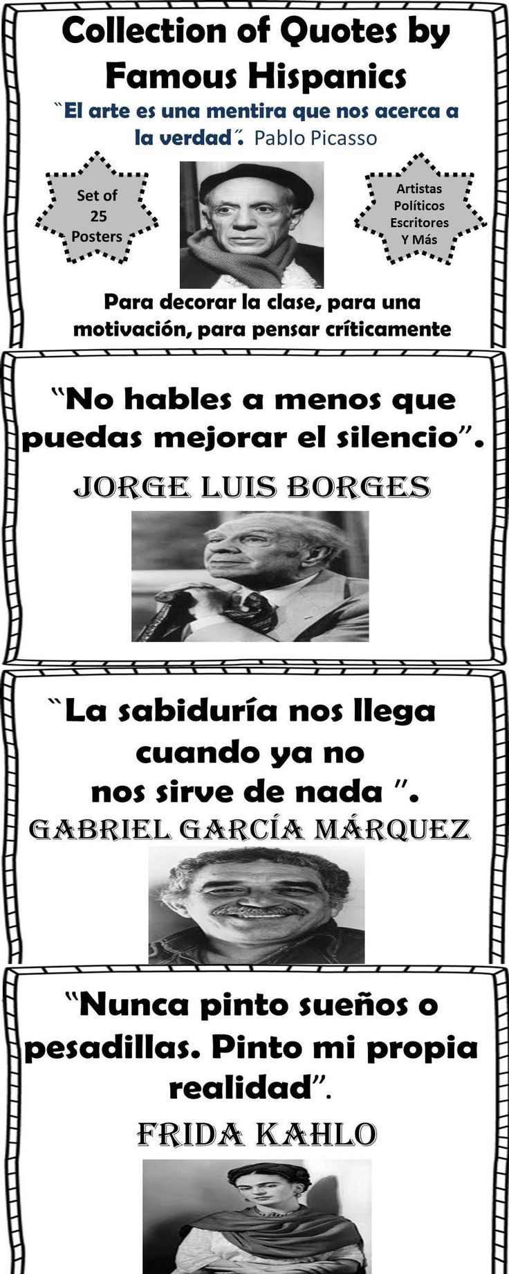 Spanish! Collection of 25 Quote Posters-Famous Hispanic writers, artists, and political figures. Decorate your bulletin board, use them for motivations and writing prompts!
