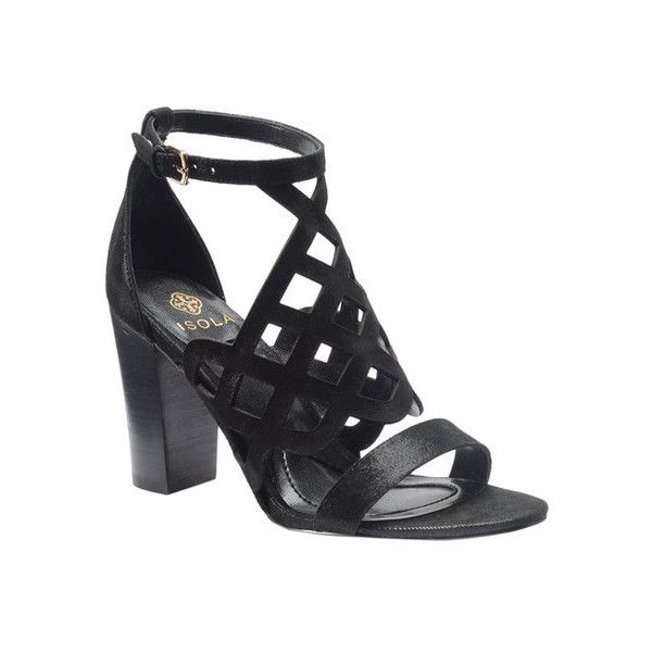 Women's Isola Despina Caged Sandal ($106) ❤ liked on Polyvore featuring shoes, sandals, black, cage shoes, casual, black strap sandals, ankle strap high heel sandals, black strappy shoes, ankle wrap sandals and strappy sandals