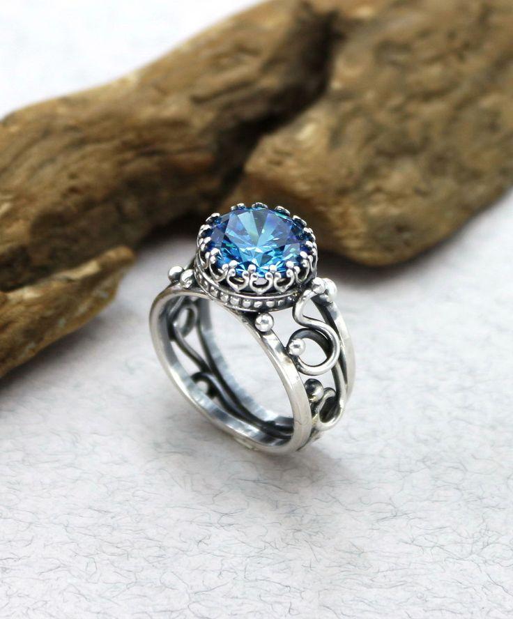Silver Engagement Ring with Czech crystal | Серебряное помолвочное кольцо с чешским кристаллом — Купить, заказать, кольцо, кристалл, помолвка, помолвочное