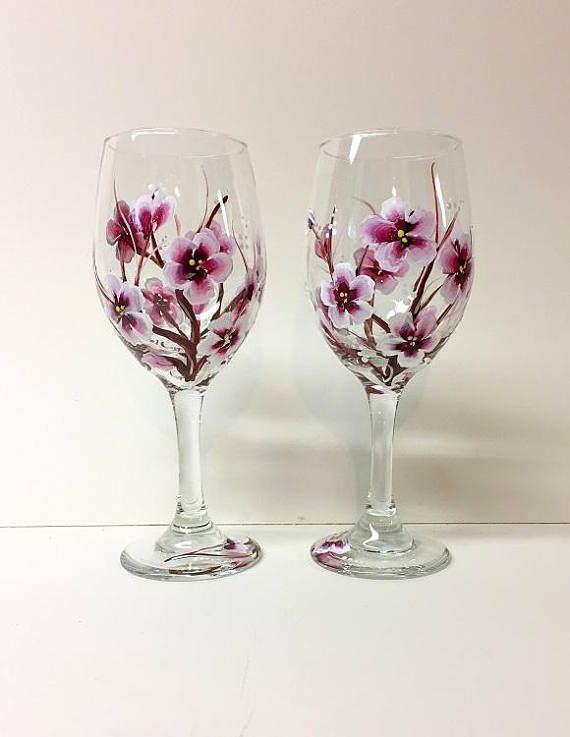 Hand Painted Cherry Blossoms Wine Glasses Set Of 2 The Perfect Way To Enjoy A Gla Hand Painted Wine Glasses Wine Glass Designs Painted Wine Glasses Designs