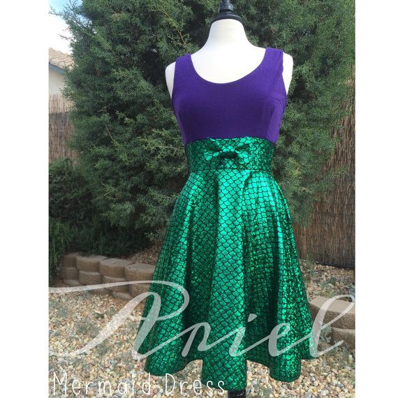 Mermaid Dress, Ariel Inspired Green Little Mermaid Scale Sparkles and Purple Tank Top Circle Skirt Sweetheart Skater Dress with Bow!