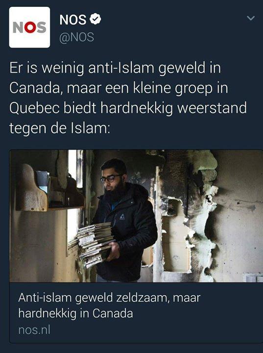 NOS maakt grappen over aanslag op moslims Quebec  Terwijl premier Trudeau via twitter zijn condoleances deelt over de de doden bij de aanslag op moslims in Quebec (30.000 keer geretweet) meent de NOS dat grappen daarover maken leuk is.   Smakeloos en duidelijk dat deze social media stagiair er direct uit mag vliegen. Was zeker toverdrank aan het innnemen. Op deze manier kun je geen nieuws brengen. Respectloos en zegt dus heel wat over 'objectief' nieuws.   Deze moskee maakte pesterijen mee…