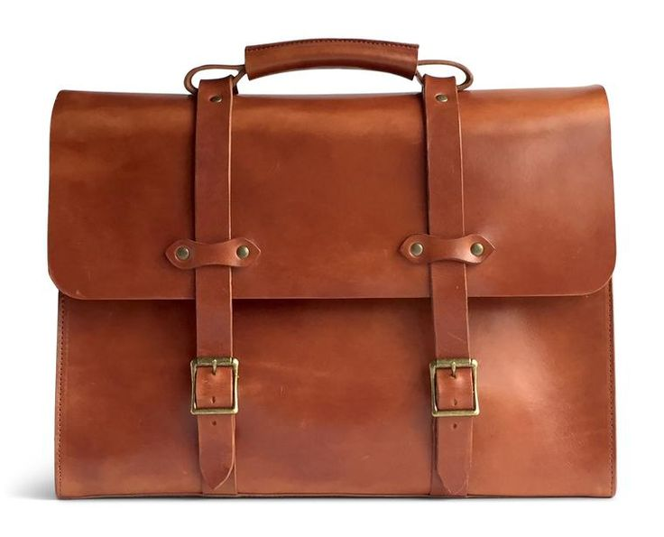 Vintage leather briefcase made with full grain vegetable tanned leather in the USA (saddle tan front)