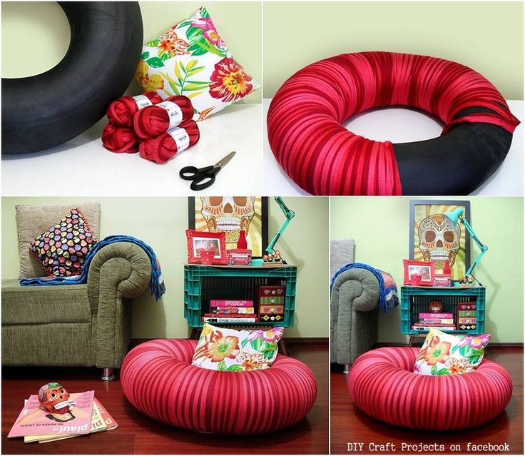 Diy craft projects tire pouf share your craft for Tire craft ideas