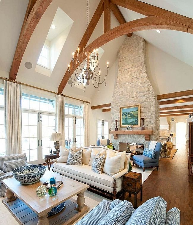 Rustic Vaulted Ceiling Living Room Transparant Glass Large Windows Light  Brown Hardwood Walls White Fabric Arms Part 84