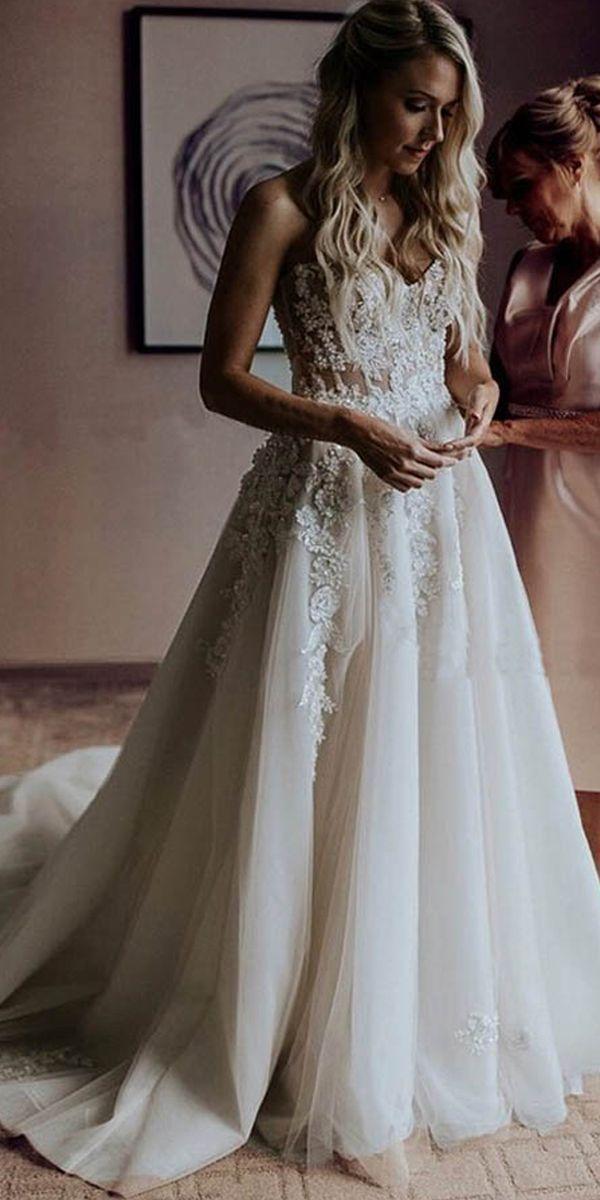 A-line Schatz Sweep Zug Brautkleid mit Applikationen Perlen WD393 – wedding-dresses