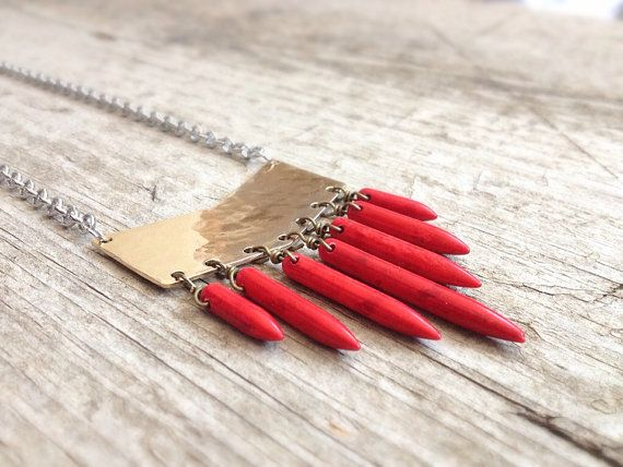 Red Spike Gold Chevron Necklace - Bohemian Jewelry - Mother's Day on Etsy, $50.00 CAD