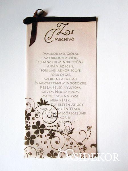 Pausz esküvői meghívó szalaggal és indamintával - Orsi Dekor - Esküvői dekoráció és esküvői kellékek széles választékban