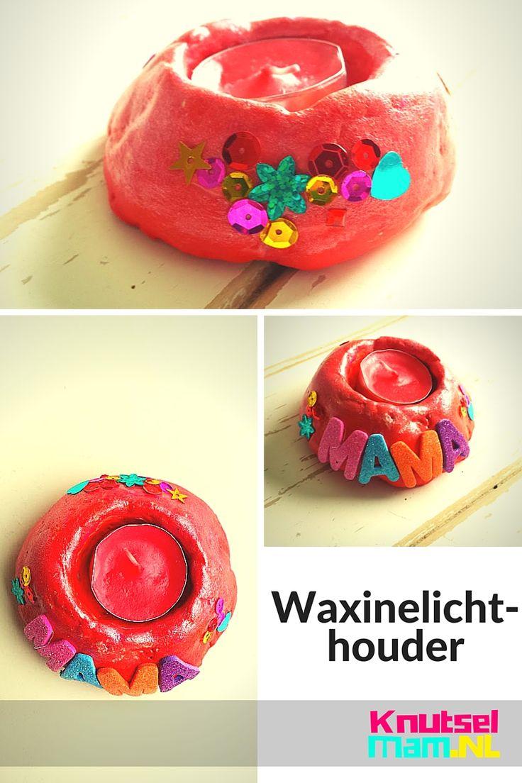Waxinelichthouder gemaakt van zoutdeeg. Speciaal voor Moederdag. Een simpel en goedkoop cadeau. Waar een moeder blij van word.