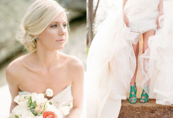 emerald green wedding accessories zara sandals earrings peach bouquet bride wedding