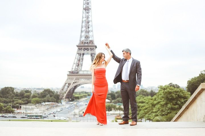 Vibrant Orange Dress for A Destination Paris Engagement photo session