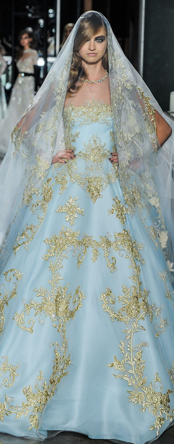 reem acra spring 2018 bridal strapless straight across full embellishment blue color princess ball gown wedding dress chapel train (24couture) zv -- Reem Acra Spring 2018 Wedding Dresses #wedding #bridal