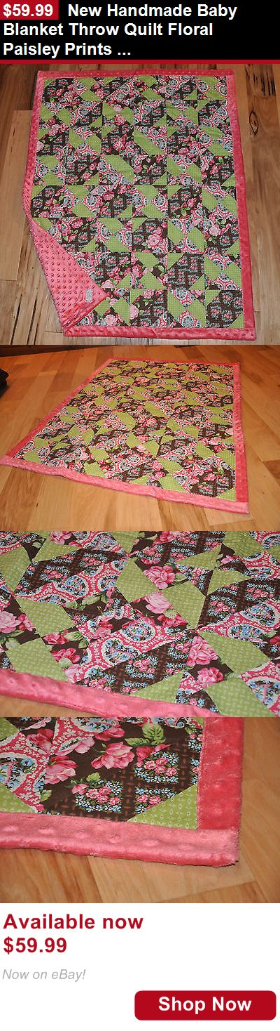 Quilts And Coverlets: New Handmade Baby Blanket Throw Quilt Floral Paisley Prints ~ 45 X 36 BUY IT NOW ONLY: $59.99