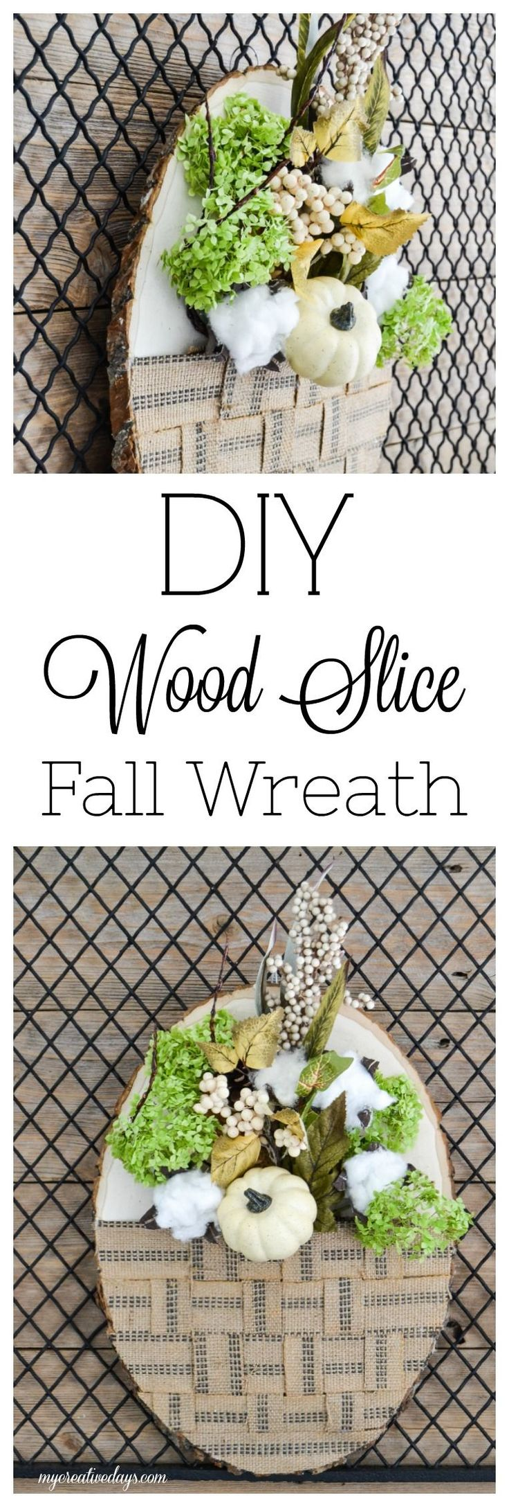 DIY Wood Slice Fall Wreath - Looking for a non-traditional wreath to welcome the fall season? This DIY Wood Slice Fall Wreath is just that. Easy, unique and perfect for fall!