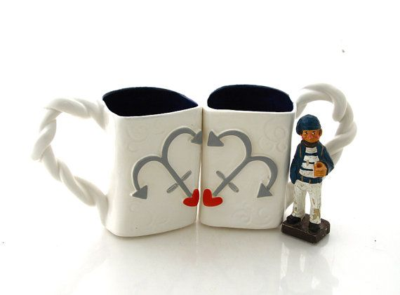 Wedding Gift Ideas For Military Couples : Mr. and Mrs. mug set, wedding gift, navy military couple, boating ...