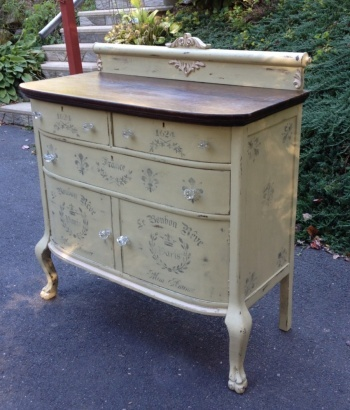 Chalk painted French stencild sideboard