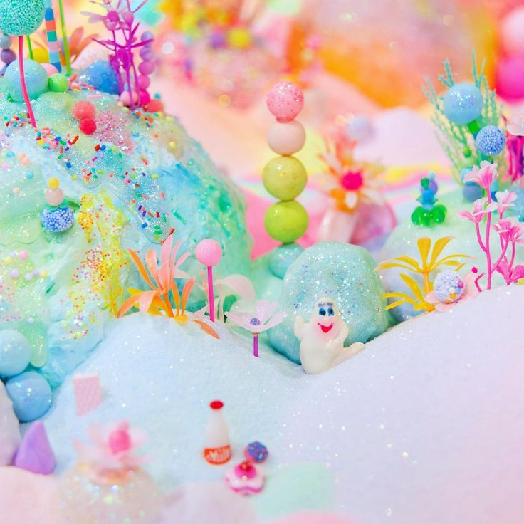 ip & Pop AKA Perth artist Tanya Schutz creates entire candy kingdoms out of cute art materials and – wait for it – sugar.  Her art is like the inside of your head as a five-year-old – all rainbow landscapes, pom poms and fluff.