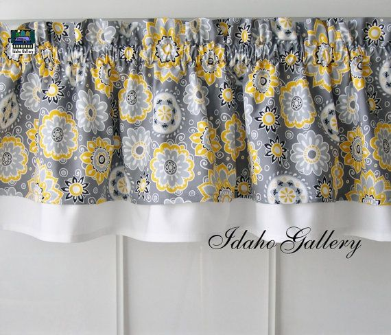 Gray Yellow White And Black Double Layered Little Curtain Modern Style Kitchen  Curtain / Valance 13 Double Layer Valance Made By Idaho Gallery