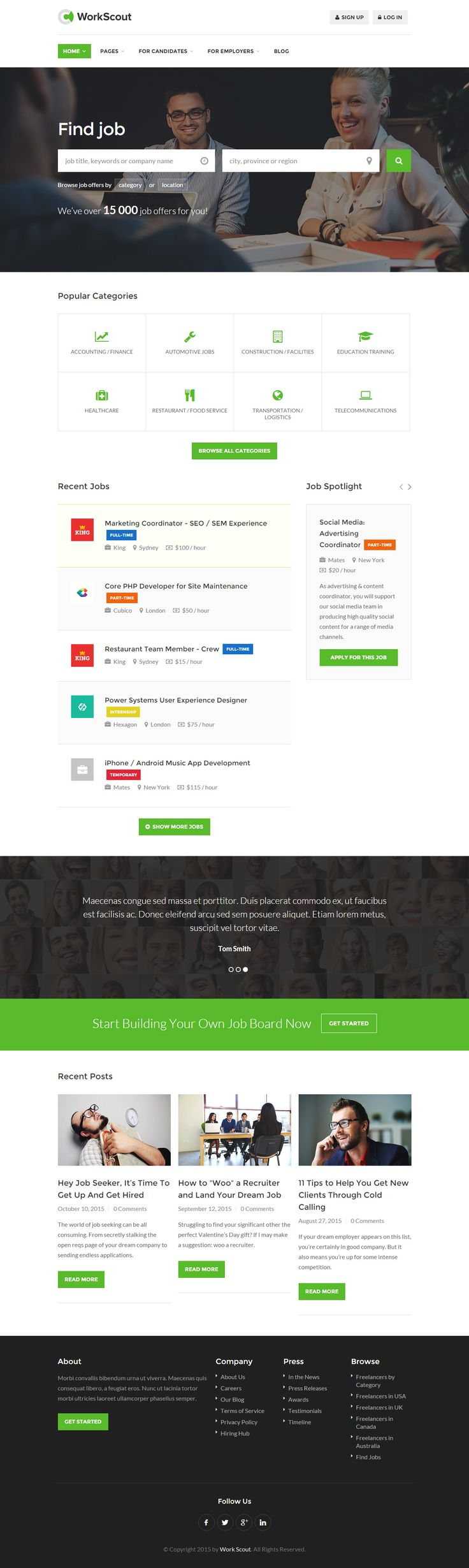 WorkScout is Premium full Responsive Retina #HTML5 #JobBoard #template. Bootstrap 3 Framework. Revolution Slider. Contact Form. Test free demo at: http://www.responsivemiracle.com/cms/workscout-premium-responsive-job-board-html5-template/