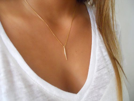 Delicate Gold Spike Necklace Gold Filled Spike by annikabella