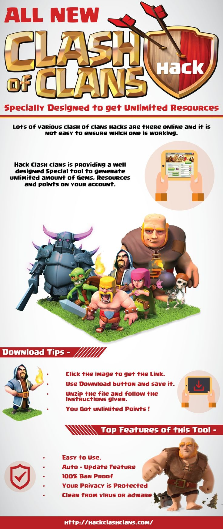 Several websites claim that their clash of clans hack works and you will be asked to complete a survey or accomplish a prerequisite that will only lead you to a fake download. Needless to say, all hack sites for COC were a scam. Check this out http://hackclashclans.com/ for more info.