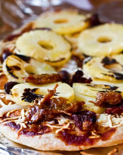 Aloha Pizza...pineapple, vegan chicken, bbq sauce, vegan cheese and onions