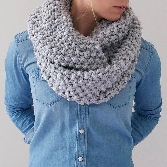 Chunky Knit Infinity Scarf in Light Grey by AnahareoSeasonal
