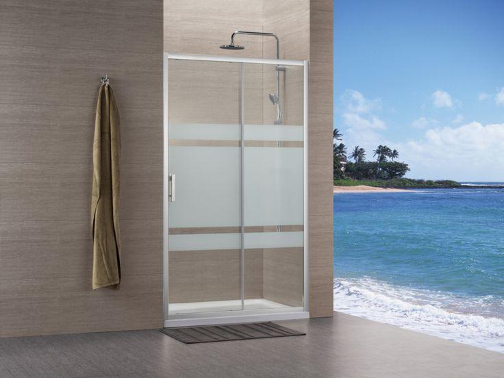 Paroi Concerto accès de face coulissant 2 vantaux 100x100cm profilé argent brillant verre sérigraphié - ALTERNA - Sanitaire  -CEDEO