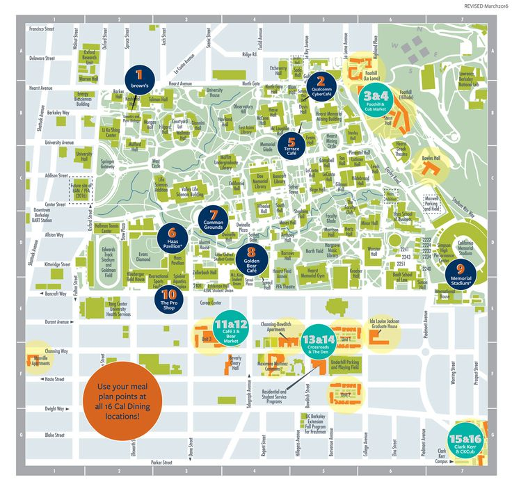 For a more comprehensive map including all academic, residential, and administrative buildings- click here to see the UC Berkeley online campus map.