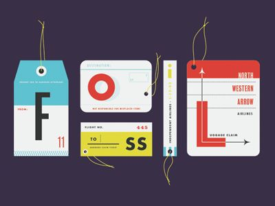 Tags.: Graphics Design Illustrations, Fossil Tags, Bold Color, Aaron Eiland, Collection Sorry, Label, Travel Tags, Airline Tags, Cards