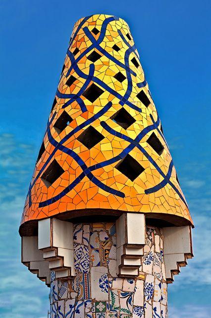 Chimney.Palau Güell. Barcelona, Spain. 1886-8. Antoni Gaudi.