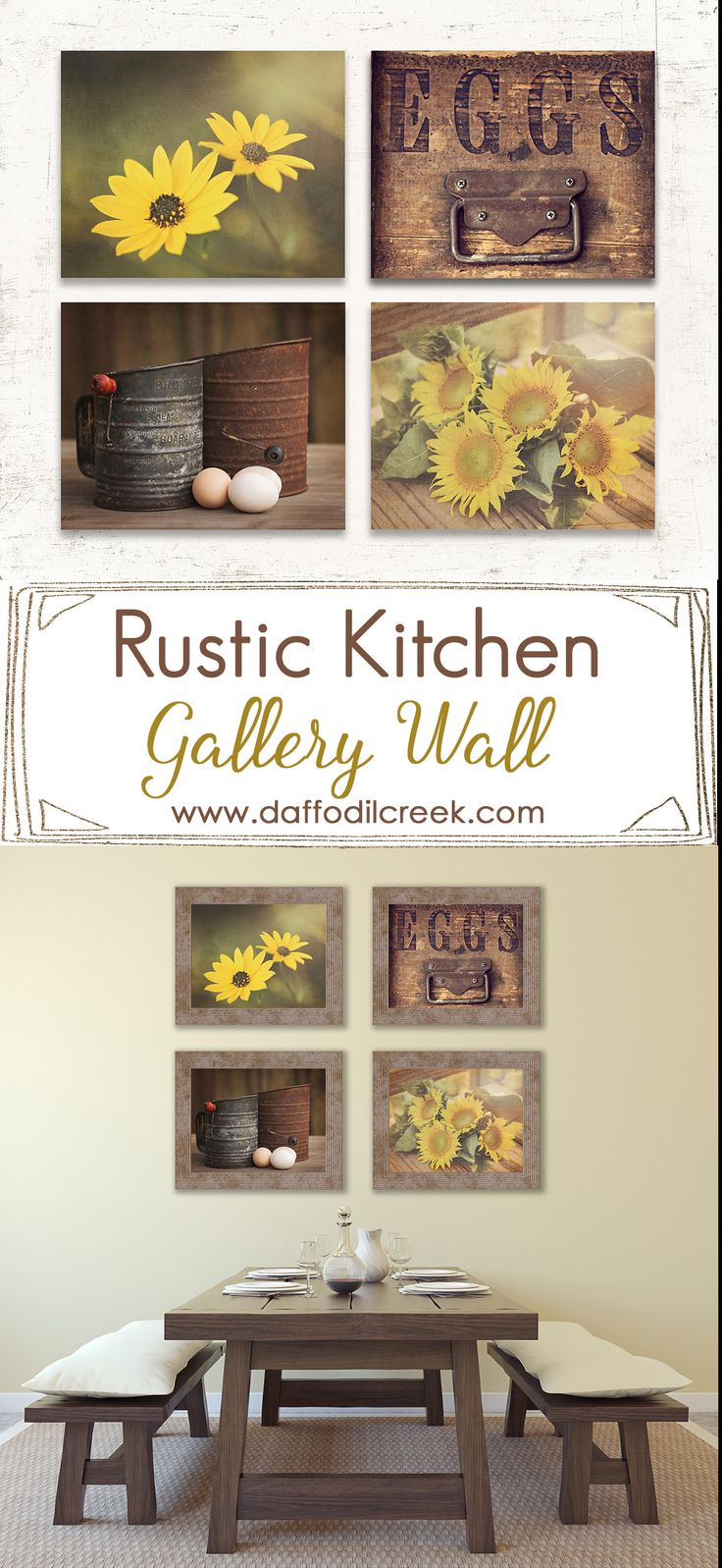 Rustic yellow kitchen print set of four warm dining for Rustic yellow kitchen