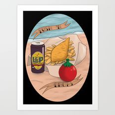 Kiwiana banner Series - Fush N Chups Art Print