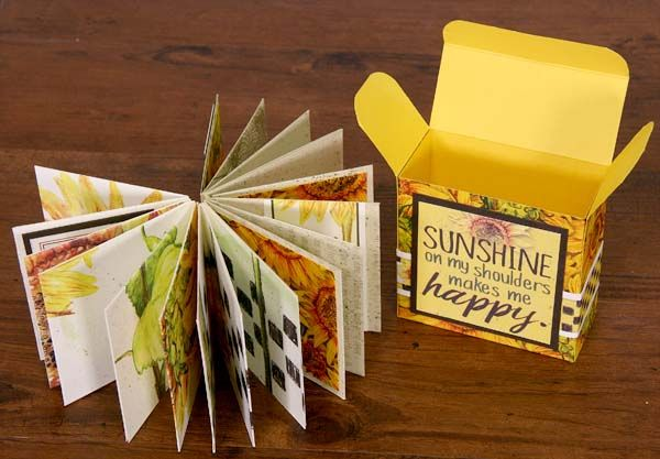 A tutorial for making a cute box from an 8.5x11 paper and an album from two 12x12 papers by Tricia Morris #clubscrap