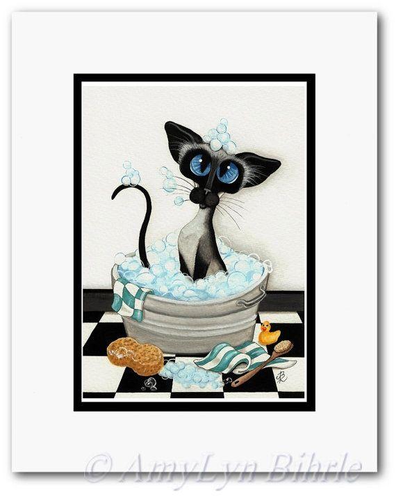 Siamese Cat Bath Bubbles Bath Decor  Art Prints by by AmyLynBihrle