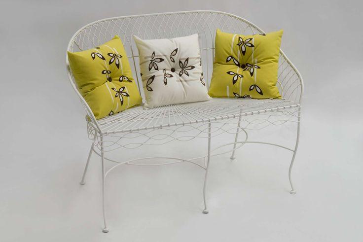 Lounge Fer Forgé, Καναπές από σφυρήλατο σίδηρο σε λευκό χρώμα, 2 ατόμων.