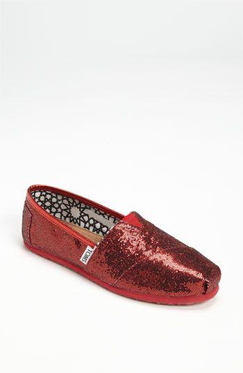 Dorothy TOMS 'Classic' Glitter Slip-On (: Accessories Shoes Toms, Glitter Slip On, Toms Glitter Women Shoes, Tom Shoes, Red Shoes, Ruby Red Slippers, Toms Shoes Classic Glitter, Red Glitter Toms, Toms Classic