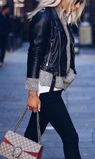 Gucci Handbag, Zara Leather Jacket
