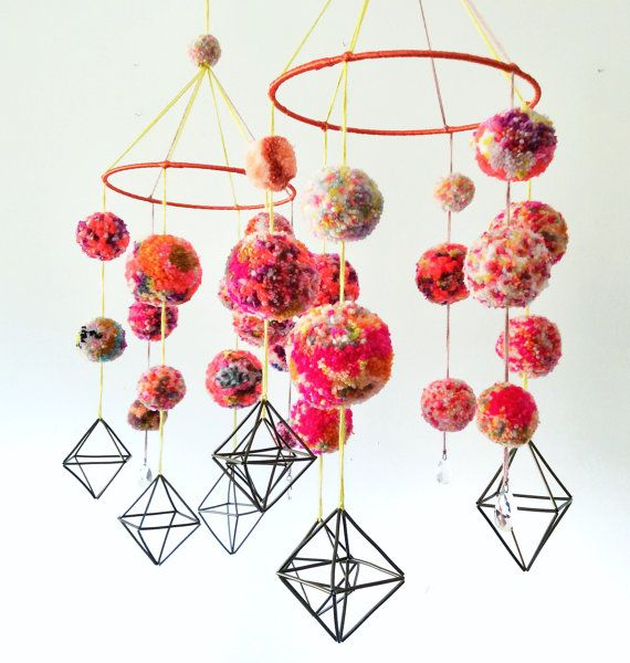 MADE TO ORDER Geometric Mobile PomPom Nursery by jujujust on Etsy