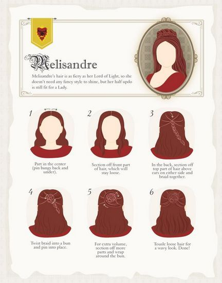 How to braid hair like Melisandre, and I have tried it, and it is super easy, the only tip I would give is to make sure for the braid you take the hair from the top of the head.