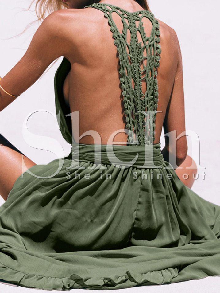 Vestido cuello V sin espalda maxi  verde 20.23€