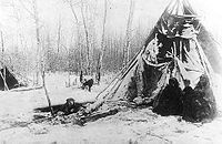 Dane-zaa (Beaver) tipi in winter near Peace River, Alberta, 1899. The Dane-zaa (ᑕᓀᖚ, also spelled Dunneza, or Tsattine, and historically often referred to as the Beaver tribe by Europeans) are a First Nation of the large Athapaskan language group; their traditional territory is around the Peace River of the provinces of Alberta and British Columbia, Canada.