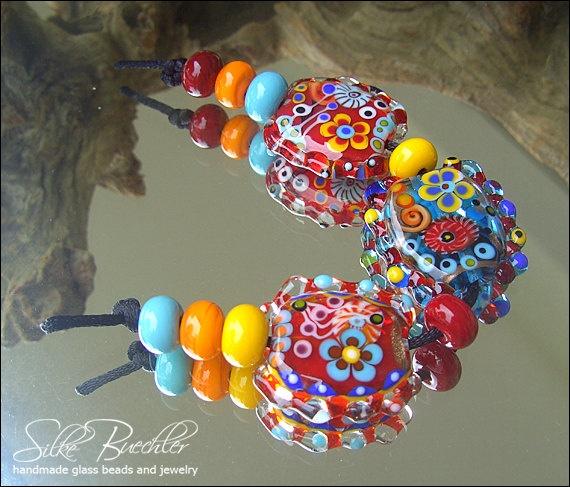 11 handmade lampwork beads sra glass calypsos beads