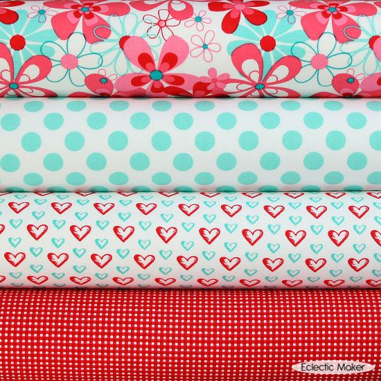 Michael Miller Fabric Pack AquaRed in Nearby Floral