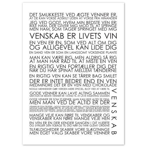 Plakat - Venskab sort/hvid