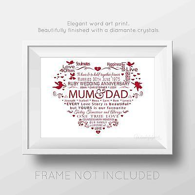 Personalised 40th Ruby Wedding Anniversary Word Art Print Heart Gift Diamante View
